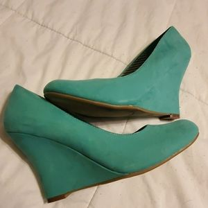 Cato Teal Womens Suede Wedges Size 10M